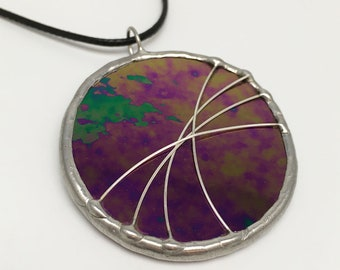 Cosmic Horizon - Stained Glass Pendant with Black Necklace Cord or Chain