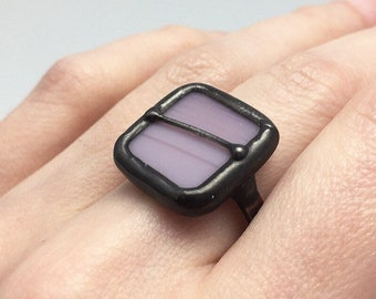 Lilac Horizon - Size 9.5 Sterling Silver Stained Glass Ring