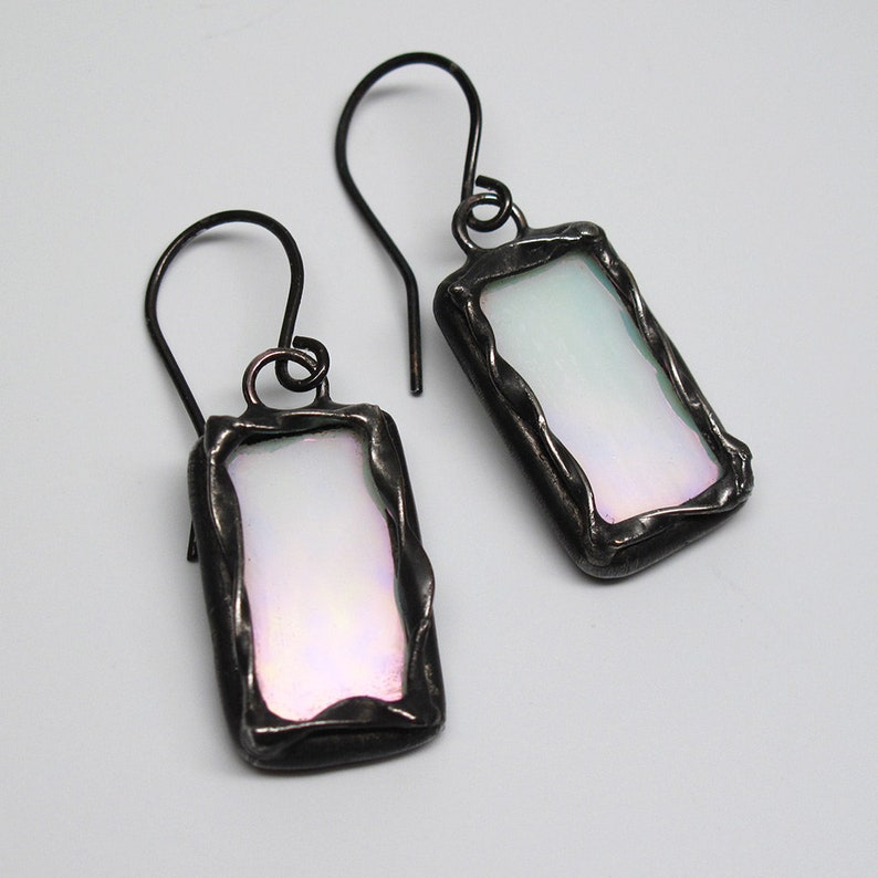 Moonlit Night  Sterling Silver Stained Glass Earrings image 0