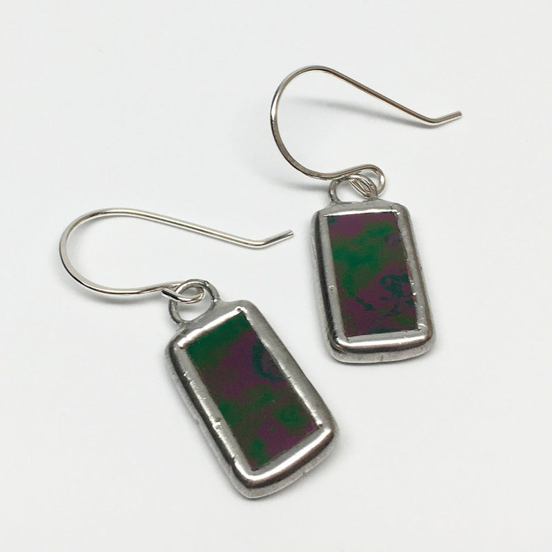 Magical Night  Sterling Silver Stained Glass Earrings image 0