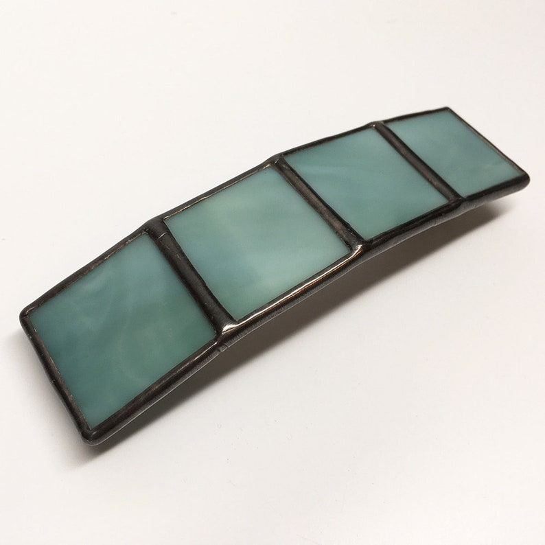 Seawater  Large Stained Glass French Barrette image 0