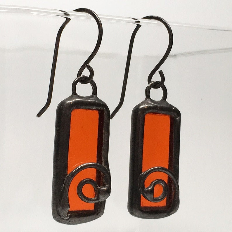 Orange Flame  Sterling Silver Stained Glass Earrings image 0