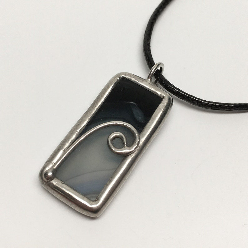 Night Moves  Small Stained Glass Pendant with Black Necklace image 0