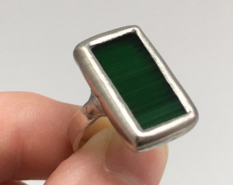 Emerald Night - Size 7 Sterling Silver Stained Glass Ring