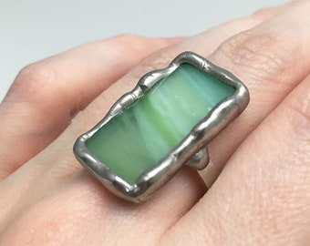 Honeydew Dream -  Size 10 Sterling Silver Stained Glass Ring