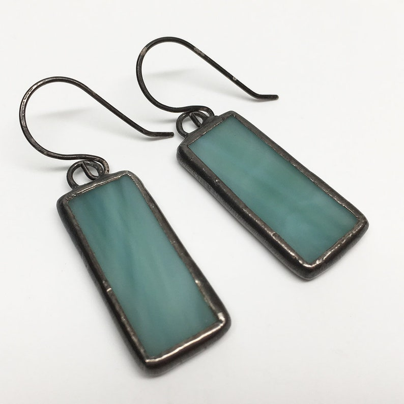 Sage Breeze  Sterling Silver Stained Glass Earrings image 0