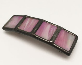 Pink Glaze - Small Stained Glass French Barrette