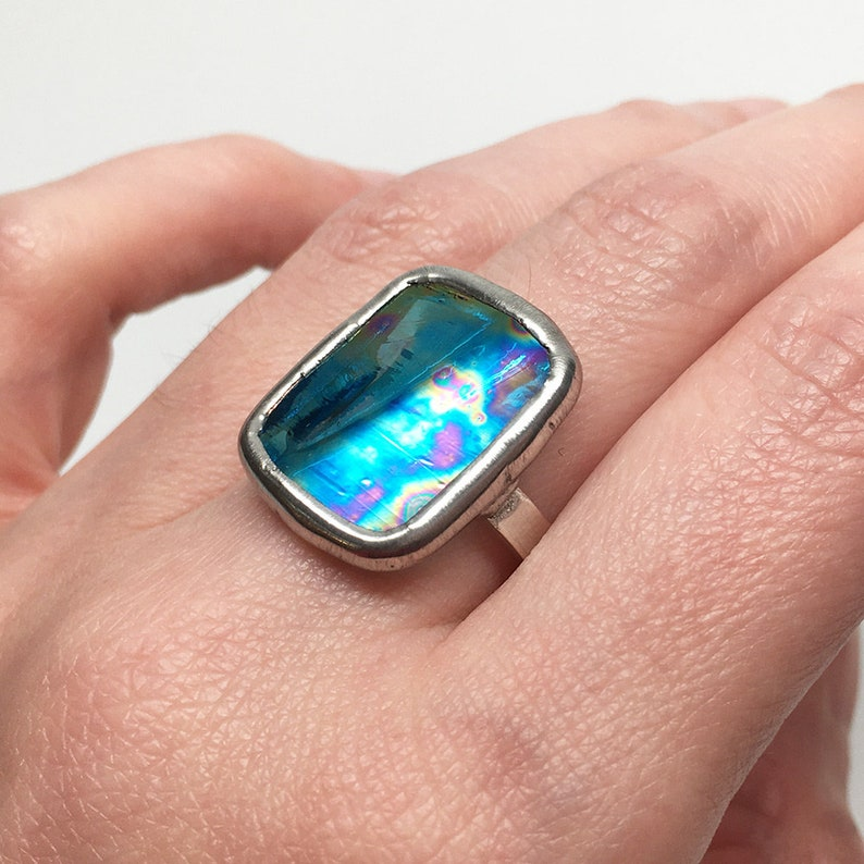 Blue Elixir  Size 9 Sterling Silver Stained Glass Ring image 0
