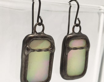 Vanilla Spice - Sterling Silver Stained Glass Earrings