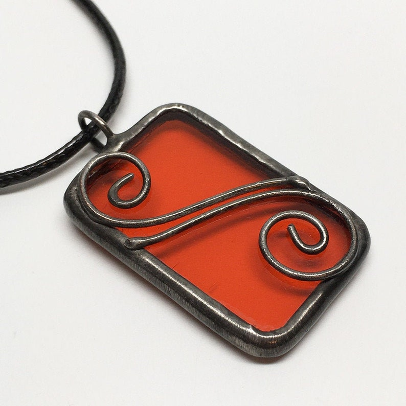 Pumpkin Spice  Stained Glass Pendant with Black Necklace Cord image 0