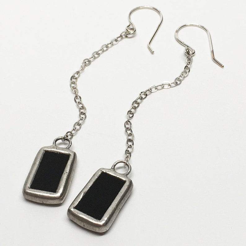 Black Pendulum  Sterling Silver Stained Glass Earrings image 0