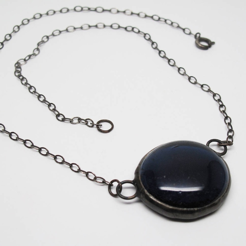 Navy Blue Droplet  Medium Stained Glass Nugget Necklace with image 0