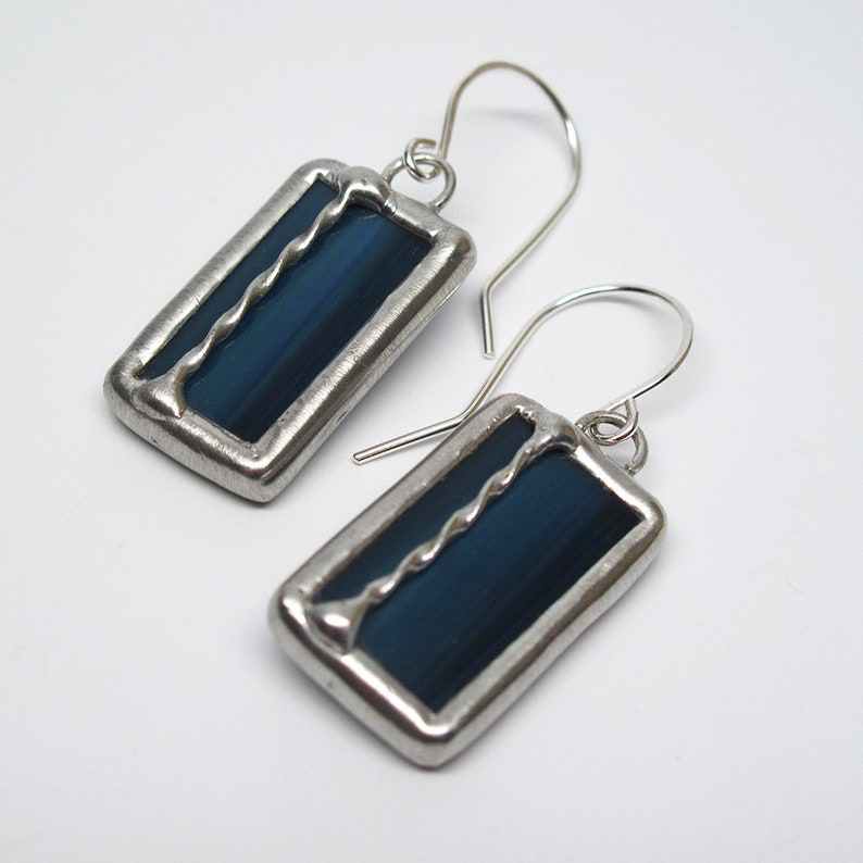 Dark Stream  Sterling Silver Stained Glass Earrings image 0