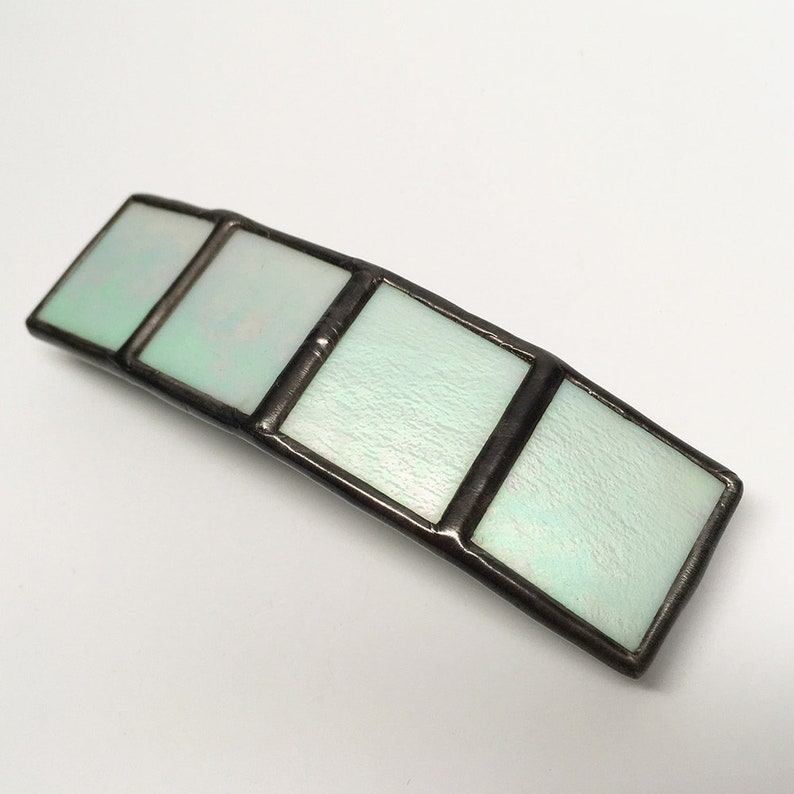 Mint Frost  Medium Stained Glass French Barrette image 0
