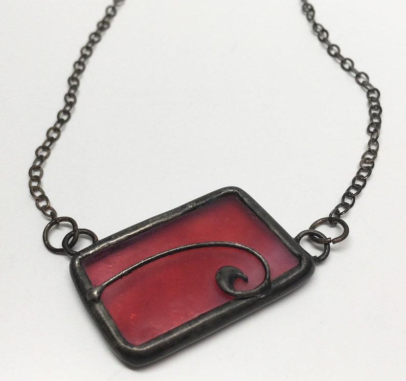 Rosewood  Stained Glass Necklace with Sterling Silver Chain image 0