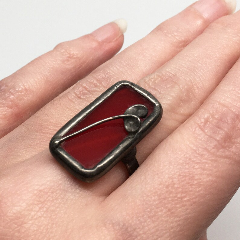 Red Tulip  Size 7.5 Sterling Silver Stained Glass Ring image 0