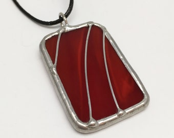 Red Curtain - Stained Glass Pendant with Black Necklace Cord or Chain