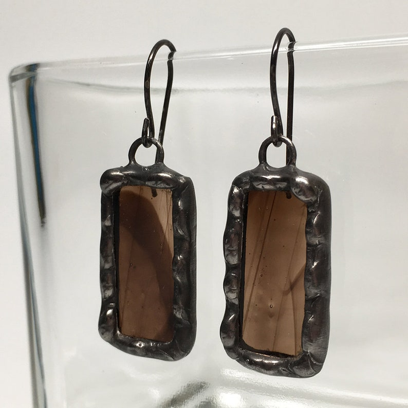 Coffee Bean  Sterling Silver Stained Glass Earrings image 0