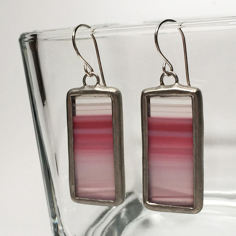 Strawberry Horizon  Sterling Silver Stained Glass Earrings image 0