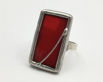 Infrared - Size 10 Sterling Silver Stained Glass Ring