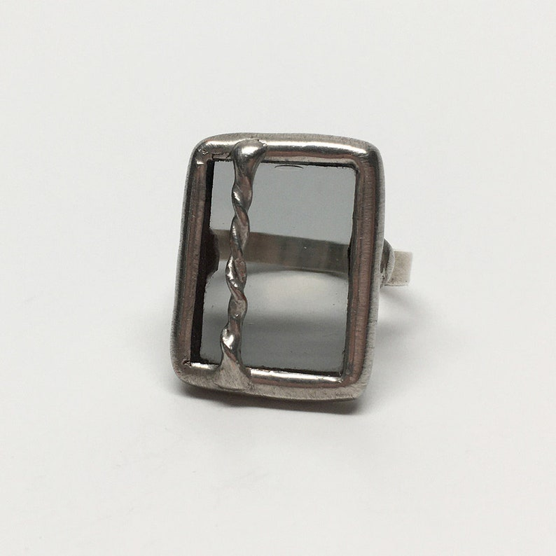 Grayscale  Size 8 Sterling Silver Stained Glass Ring image 0