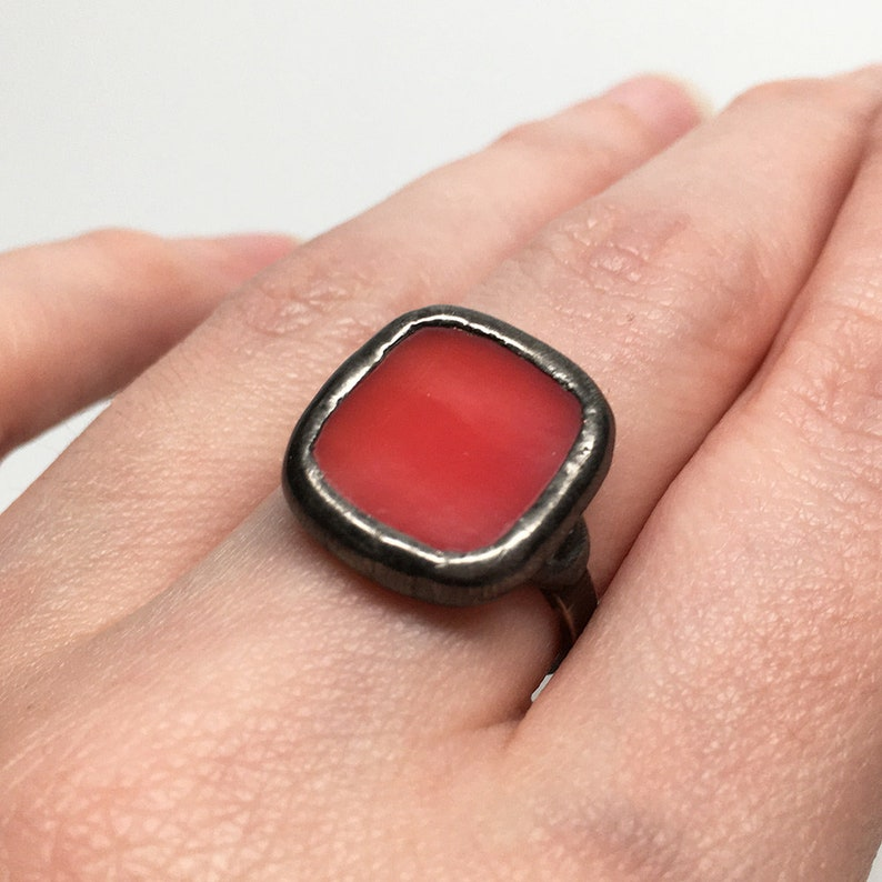 Tulip Blush  Size 7.5 Sterling Silver Stained Glass Ring image 0