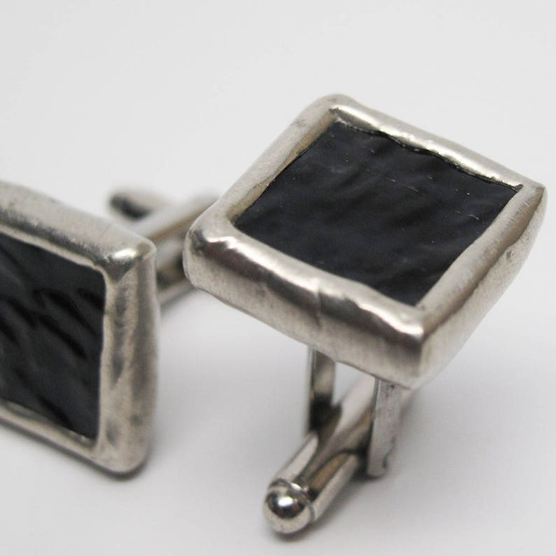Ripple  Mens Stained Glass Cuff Link Set image 0