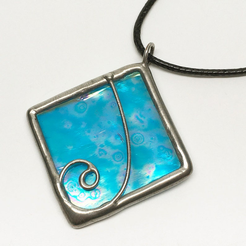 Cerulean Fantasy  Stained Glass Pendant with Black Necklace image 0