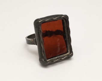 Dark Molasses - Size 11 Sterling Silver Stained Glass Ring