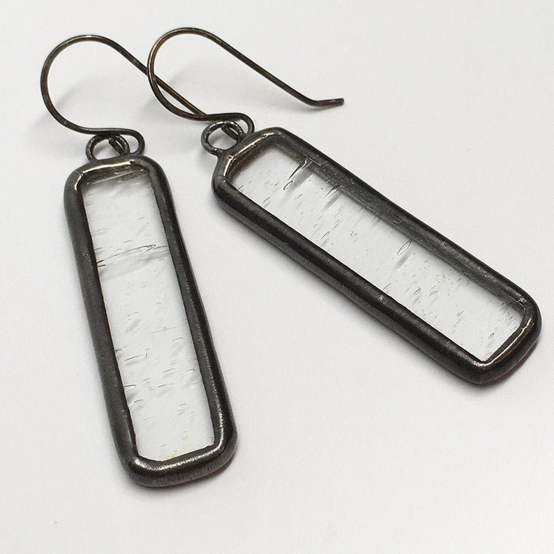 Icicle  Sterling Silver Stained Glass Earrings image 0