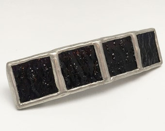 Midnight Ridge - Medium Stained Glass French Barrette