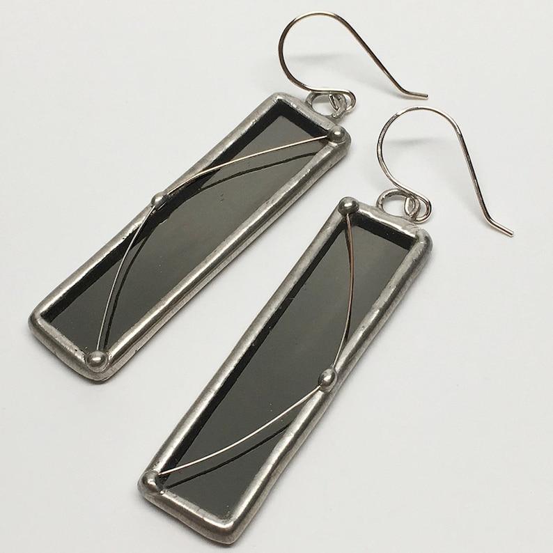 Lunar Orbit  Sterling Silver Glass Mirror Earrings image 0