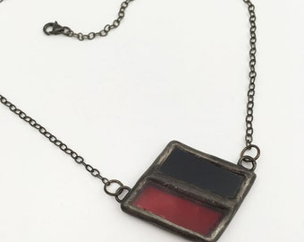 Harlequin - Stained Glass Necklace with Sterling Silver Chain