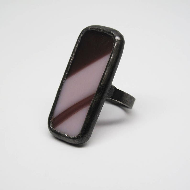 Purple Curves  Size 7.5 Sterling Silver Stained Glass Ring image 0