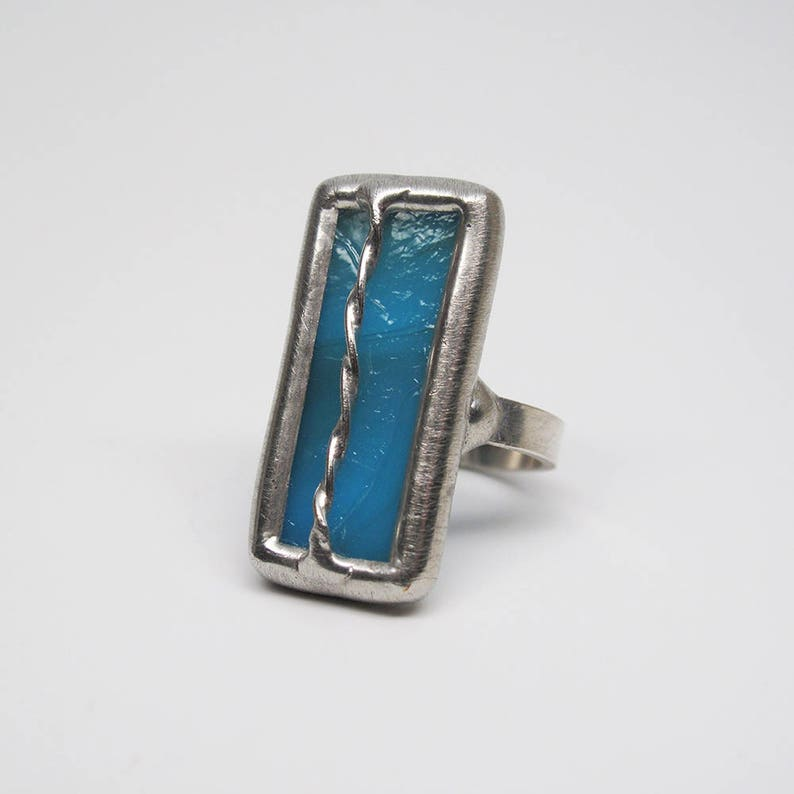 Turquoise Twirl  Size 7.5 Sterling Silver Stained Glass Ring image 0