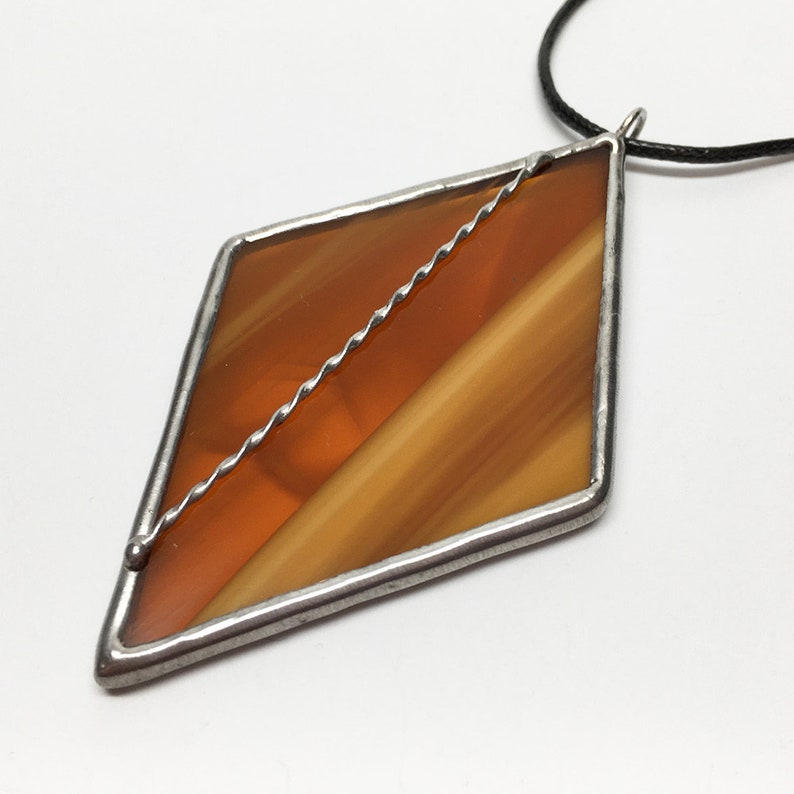 Caramel Twist  Stained Glass Statement Pendant with Black image 0