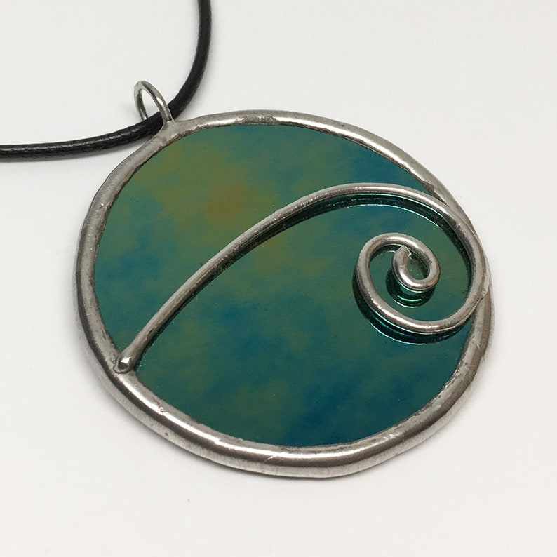 Mesmerize  Stained Glass Pendant with Black Necklace Cord or image 0