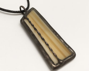 Beechwood - Stained Glass Pendant with Black Necklace Cord or Chain