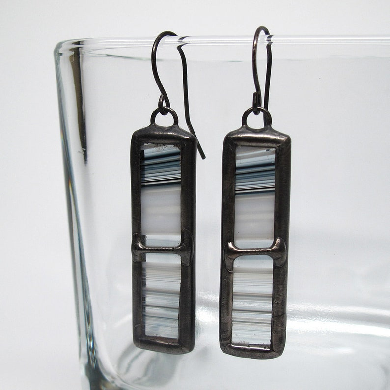 Monochromatic Vision  Sterling Silver Stained Glass Earrings image 0