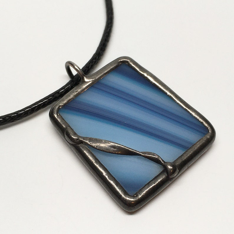 Blue Ribbon  Stained Glass Pendant with Black Necklace Cord image 0