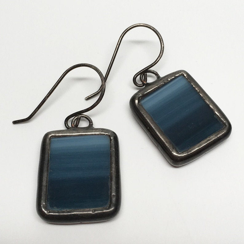 Fading Navy  Sterling Silver Stained Glass Earrings image 0