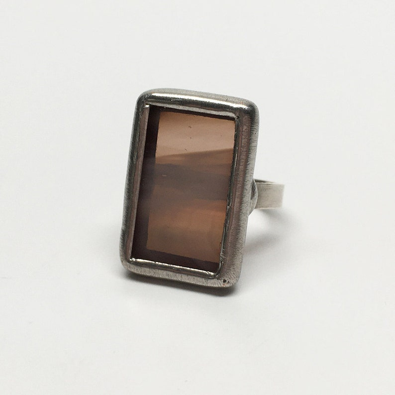 Misty Taupe   Size 7 Sterling Silver Stained Glass Ring image 0