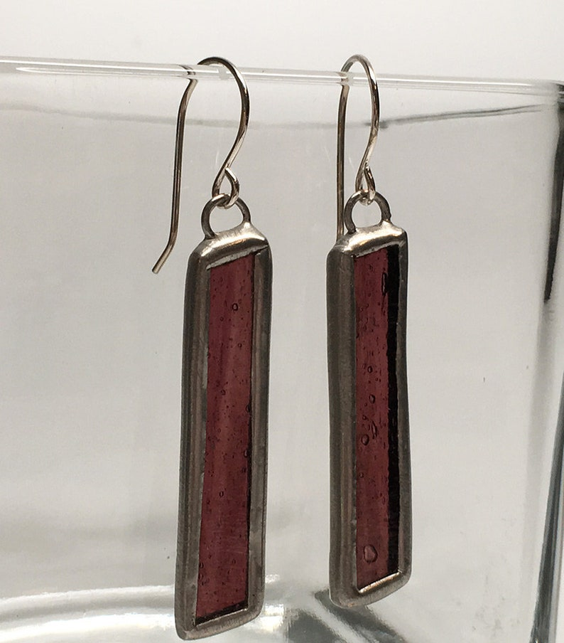 Violet Shards  Sterling Silver Stained Glass Earrings image 0