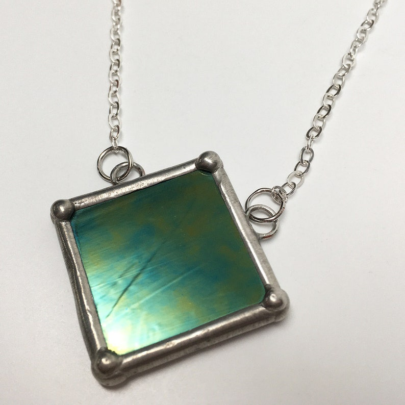 Stargazer  Stained Glass Necklace with Sterling Silver Chain image 0