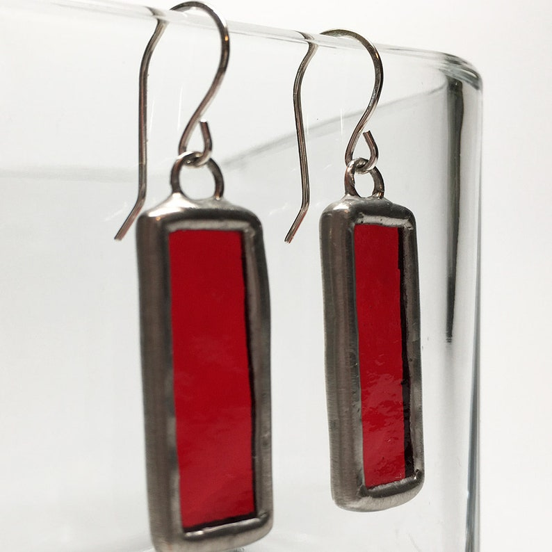Strawberry Jelly  Sterling Silver Stained Glass Earrings image 0