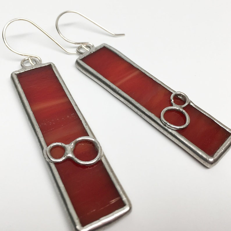 Jupiter Moons  Sterling Silver Stained Glass Earrings image 0