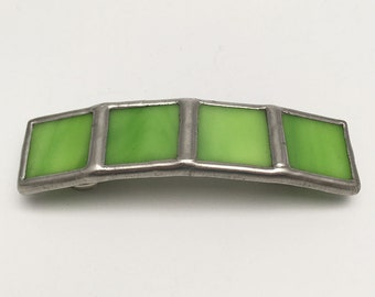 Sour Lime - Small Stained Glass French Barrette