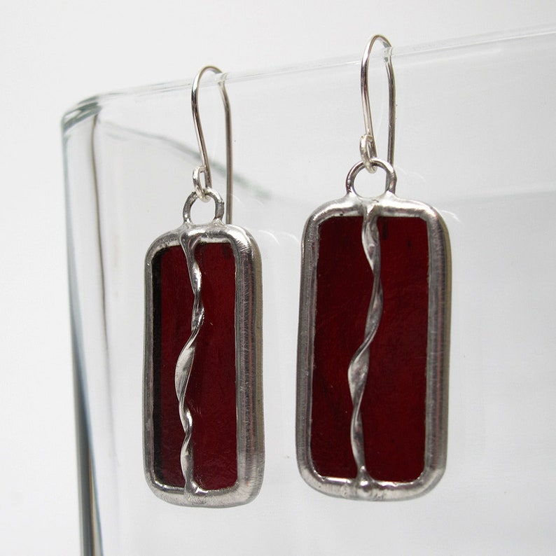 Twisted Cranberry  Sterling Silver Stained Glass Earrings image 0