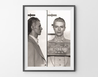David Bowie Mugshot Poster Print Black and White Photograph Bowie Portrait 1970's REMASTERED