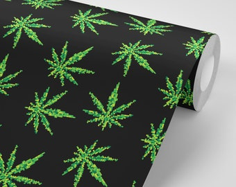 Wallpaper Marijuana Cannabis Weed Wallpaper Pattern Peel & Stick - Repositionable FREE SHIPPING